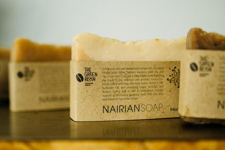 Bars of natural soap.