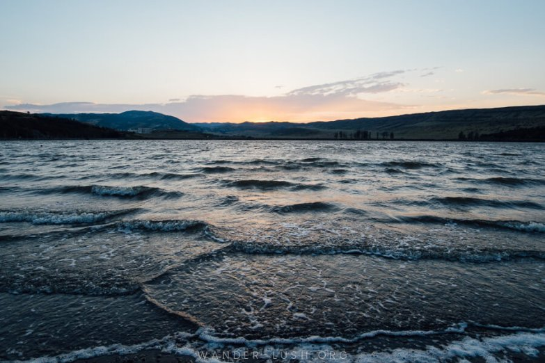 Waves on lake in Tbilisi at sunset.