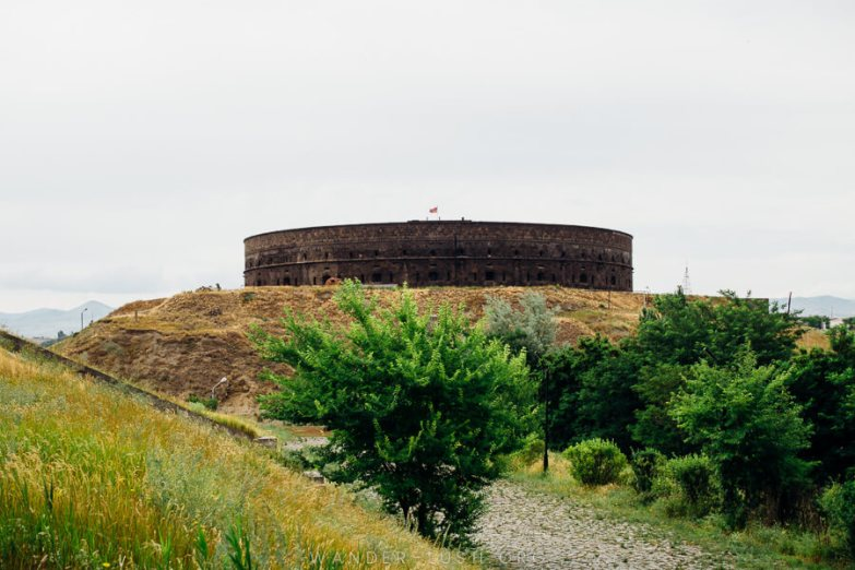 Sev Berd, a round castle made from stone, sits on a hill in Gyumri, Armenia.