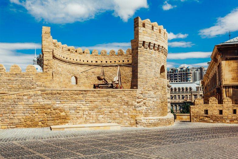 Part of the Baku Old City wall. A brick turret.