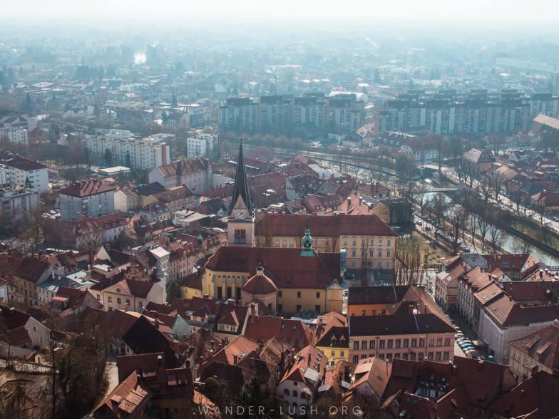 A city shrouded in mist.