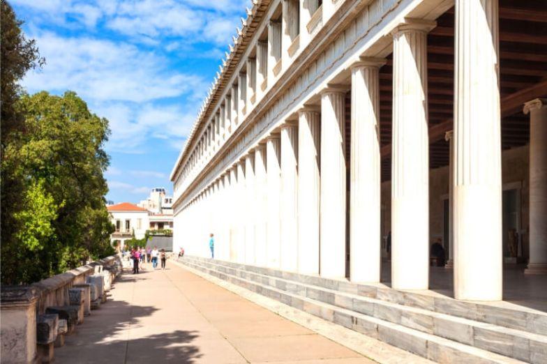A row of white Greek columns.
