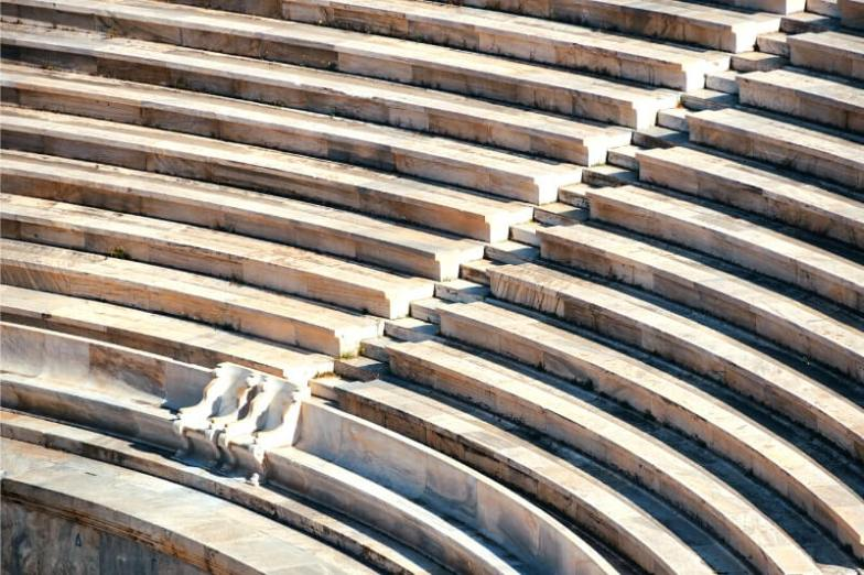 Marble steps at an ancient stadium in Athens, Greece.