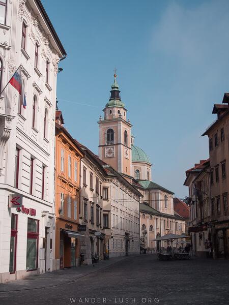 A city street in Slovenia.