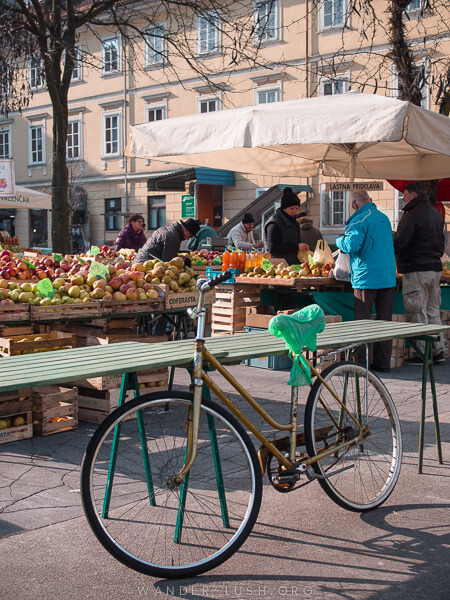 A bicycle at a market in Slovenia.