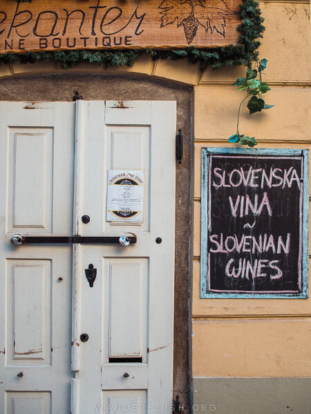 A sign for a wine bar.