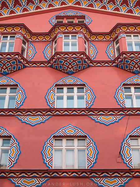 A pink facade.