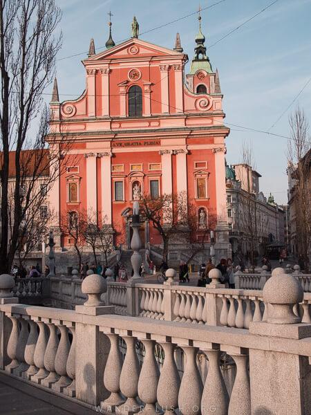 A pink church in Ljubljana, Slovenia.