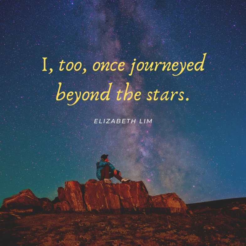 A man sits on a jagged rock looking up at stars in a night sky.