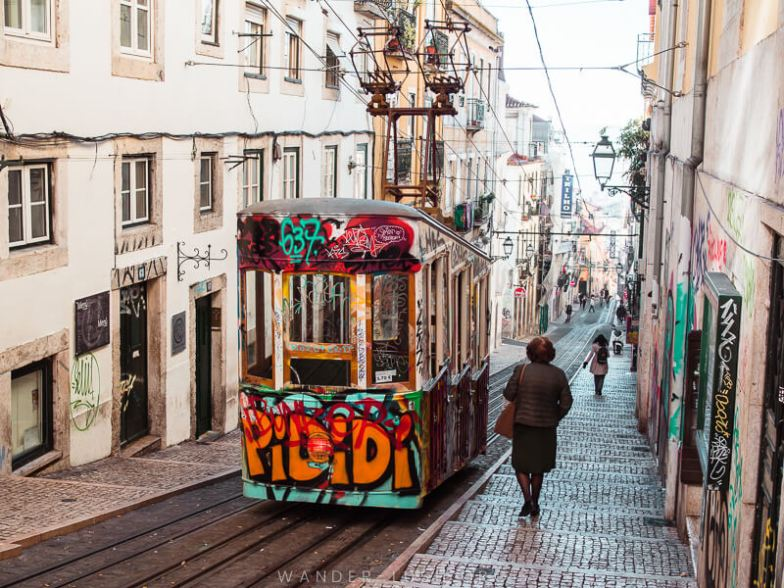 A disused tram in Lisbon, Portugal.