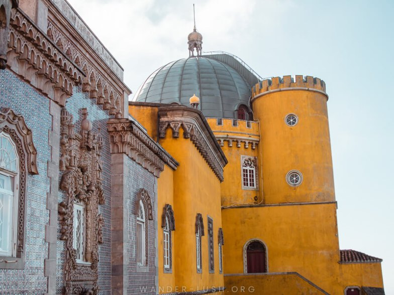 A yellow and blue castle in Sintra, Portugal.