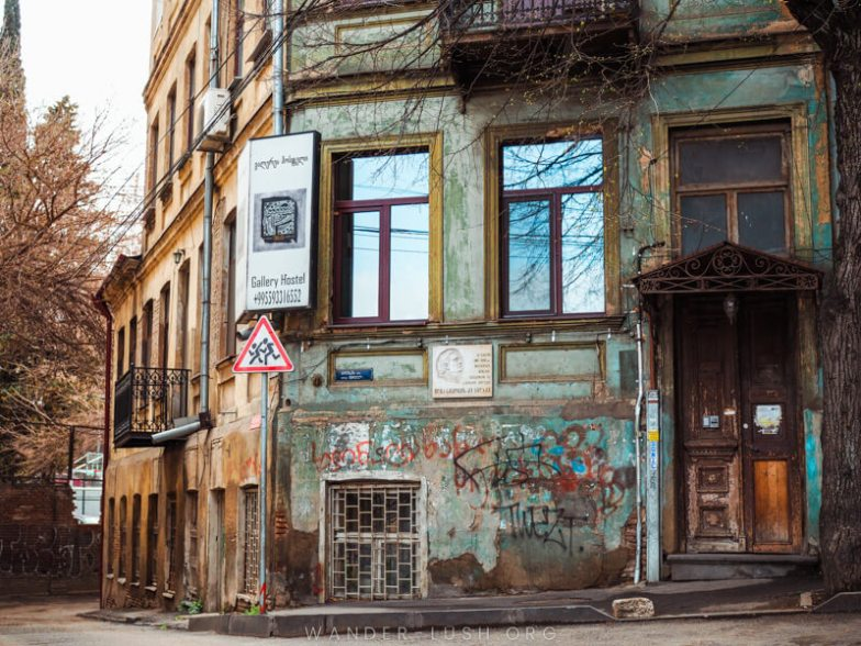 An old corner building in Tbilisi, Georgia.