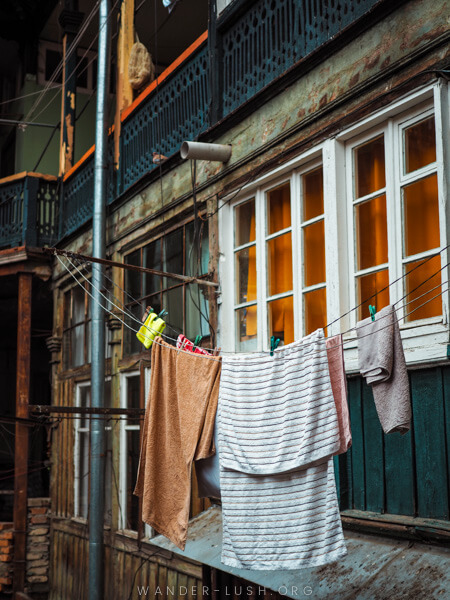 Washing hanging at the front of an apartment in Tbilisi.