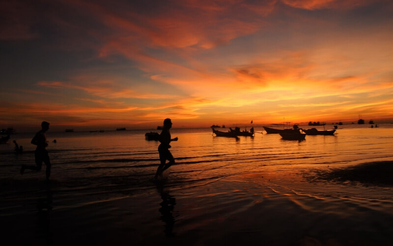 Sunset on the beach in Thailand.