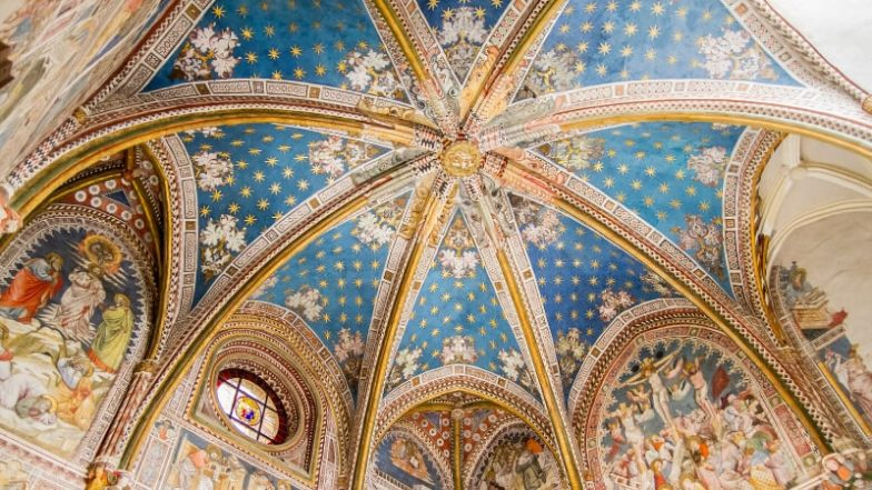 The painted dome of a church in Toledo, Spain.