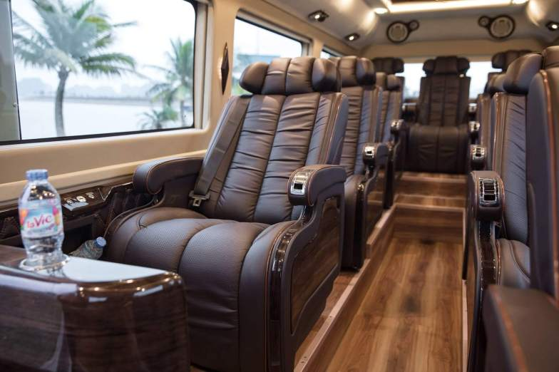 Inside a luxury van, with leather seats.