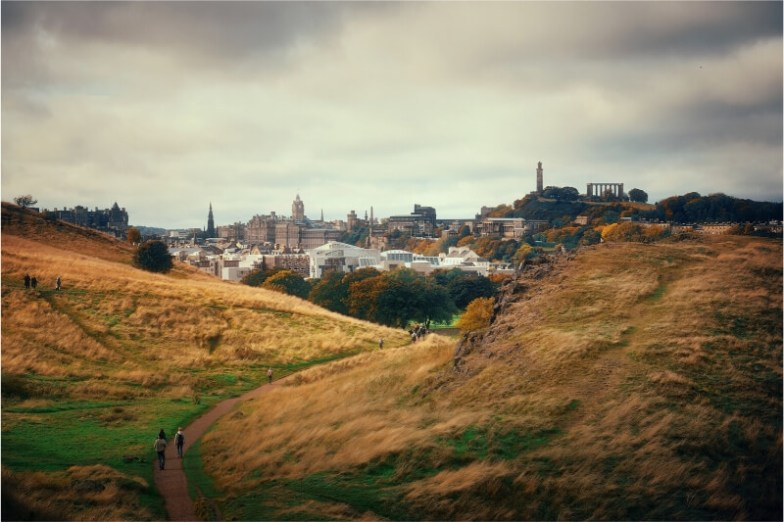 View of Edinburgh city from the hike to Arthur's Seat.