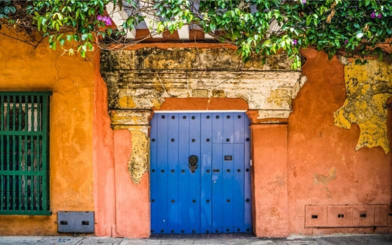 A bright blue door on an orange facade with vines growing all around it.