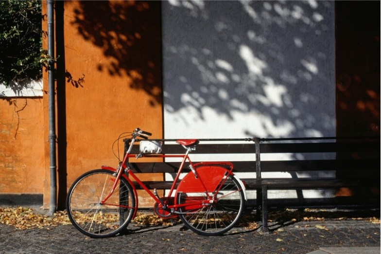 A red bicycle on the street of Copenhagen, Denmark.