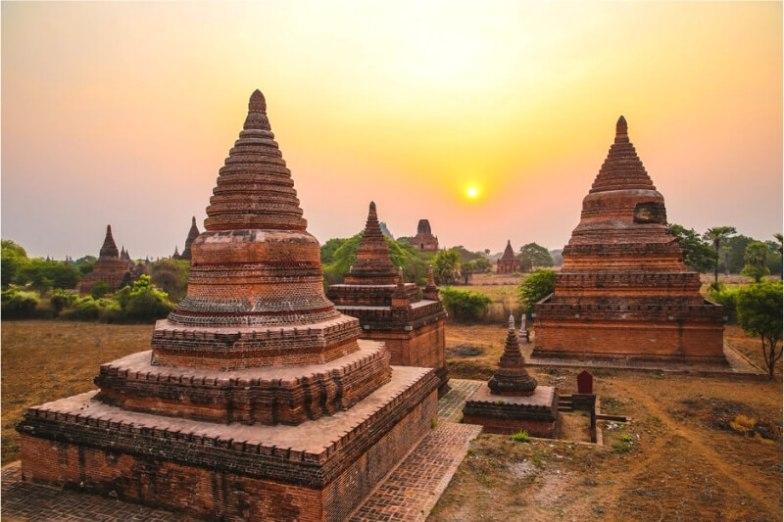 Stupas in Baga, Myanmar.
