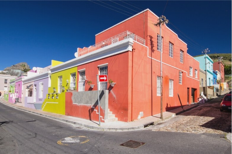 A row of colourful houses in the Cape Town neighbourhood of Bo-Kaap.