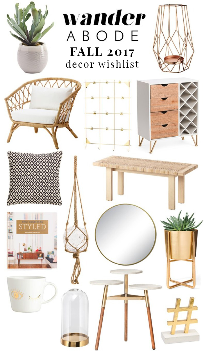 Wander Abode Fall 2017 Decor Wishlist - boho decor, rattan