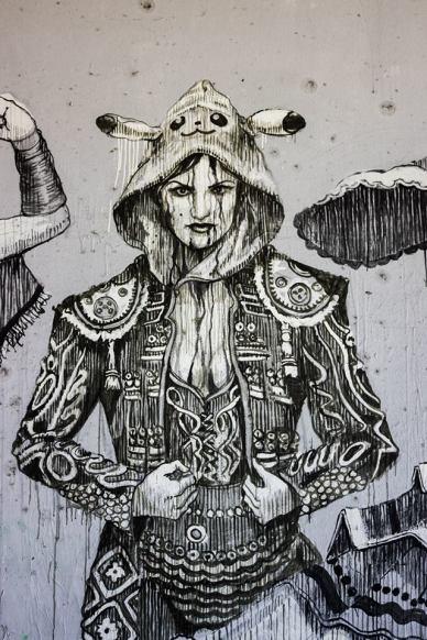 San Juan street art character
