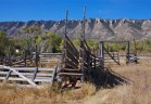 Ewing-Snell corral with Pryor Mountains in the background