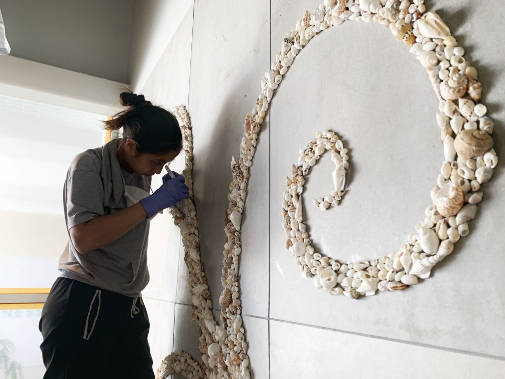 beautiful large seashell mural, hand designed and crafted by Wander Crafter