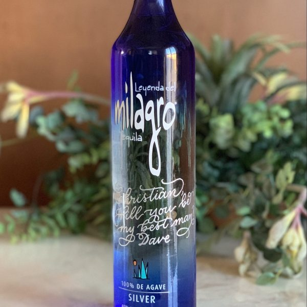 Engraved with Calligraphy Milagro Tequila Bottle