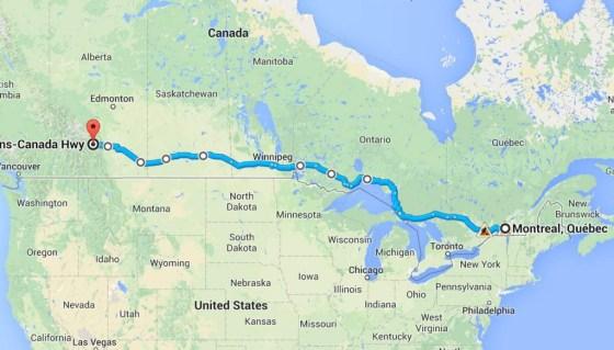 Der Geplant weg von Quebec mach Alberta ist über 3800 km lang