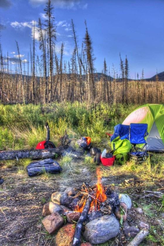 Unser Campground im niedergebrannten Wald