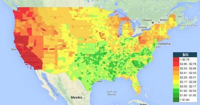 Heatmap von Gas Buddy