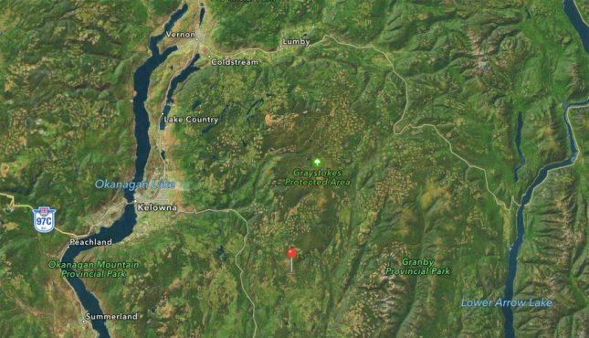 Landkarte von Big White bei Kelowna