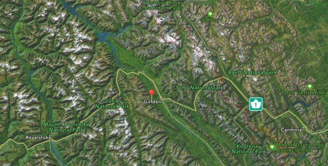 Landkarte von Kicking Horse bei Golden