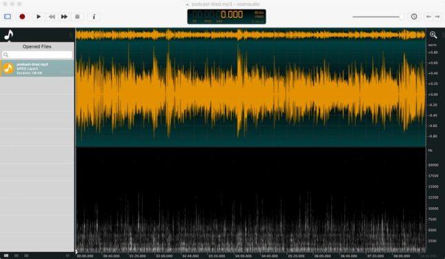 Ocen Audio Oberfläche zeigt Audiokurve und Spektralanalyse