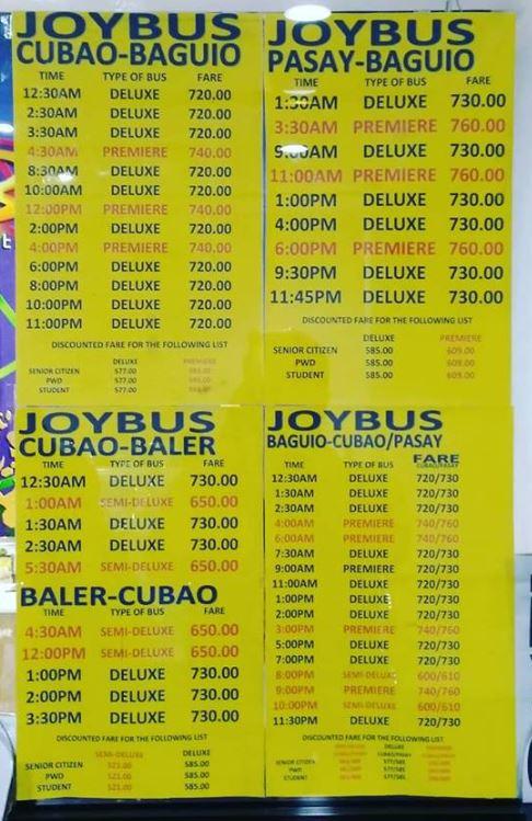 Cubao JoyBus Schedule