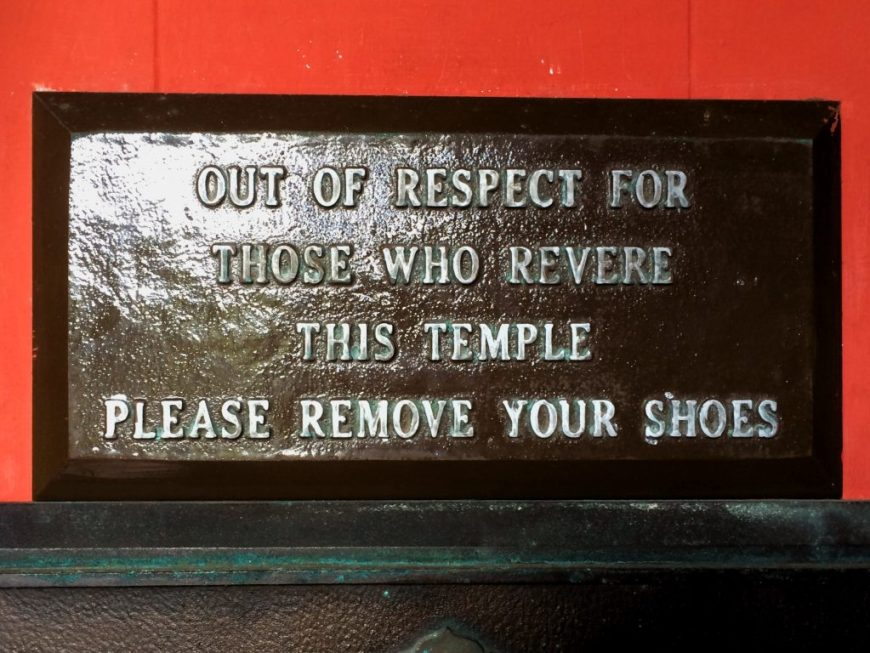Remove your shoes plaque, Byodo-In Temple, Hawaii