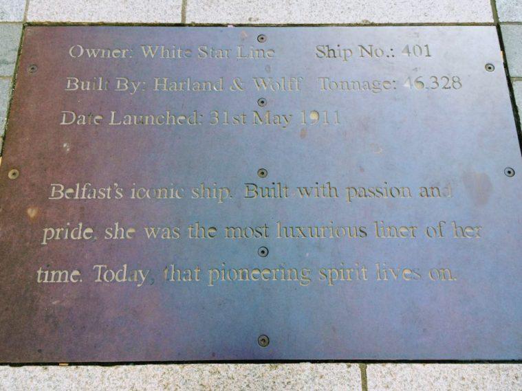 Titanic plaque in Belfast