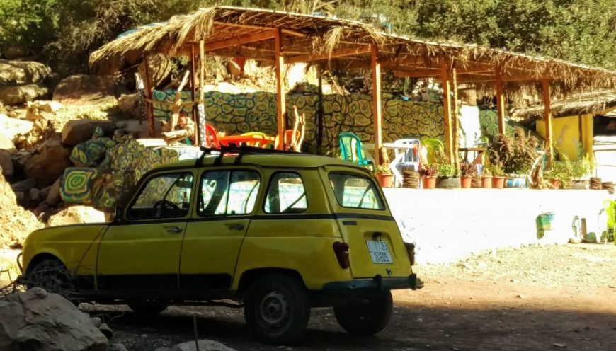Colourful yellow car, Paradise Valley, Morocco