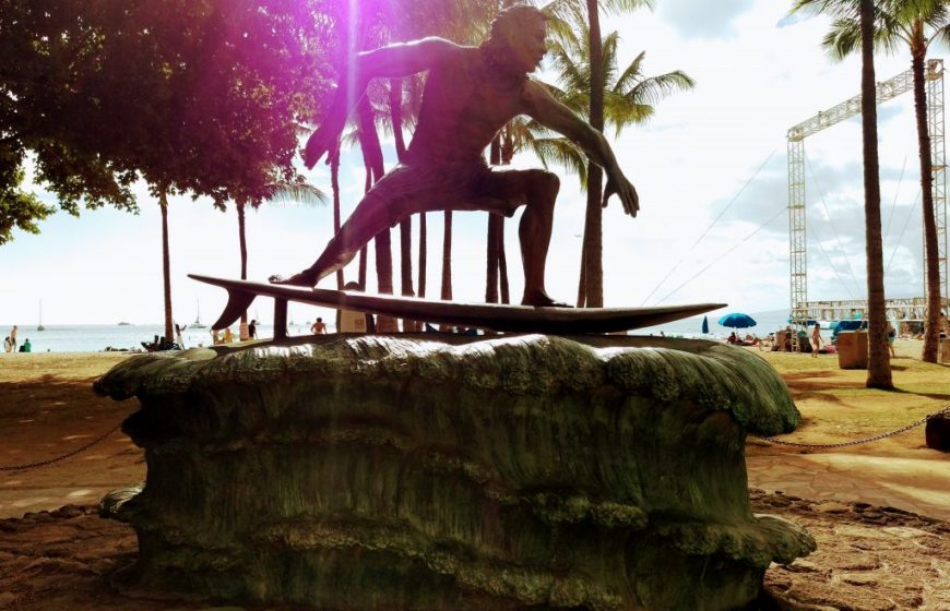 Surfer statue near Waikiki Beach, Hawaii