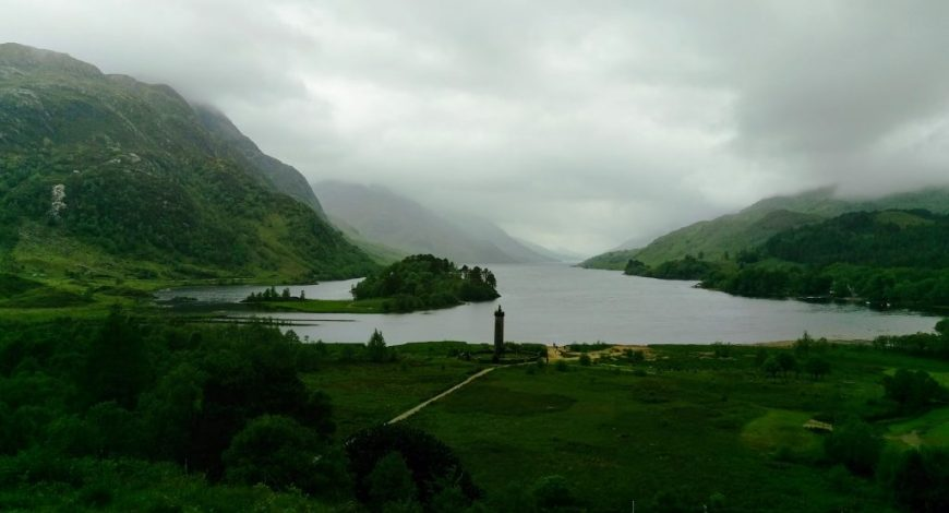 Views across the Scottish lakes when standing near the Glenfinnan Viaduct