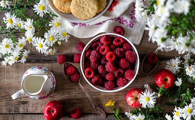 Raspberries and delicious food