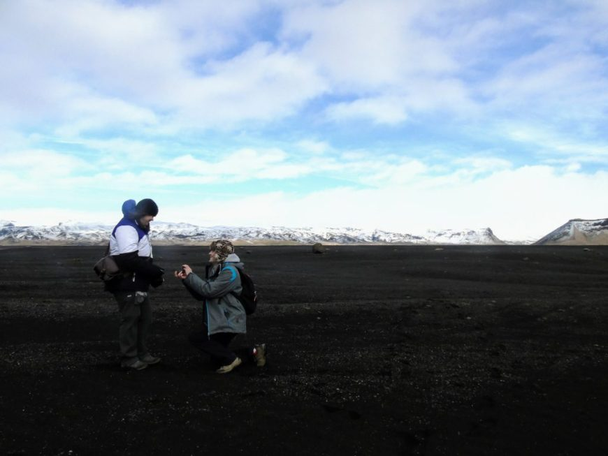 Justine and Scott getting engaged in Iceland