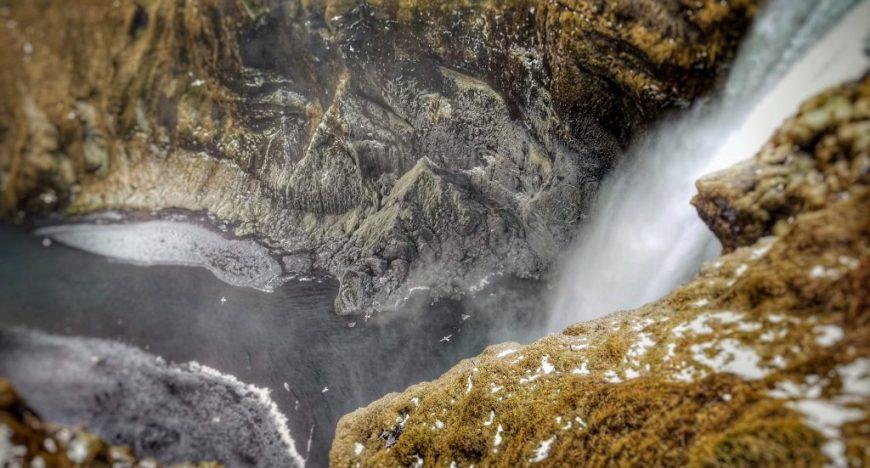 Skogafoss waterfall from above