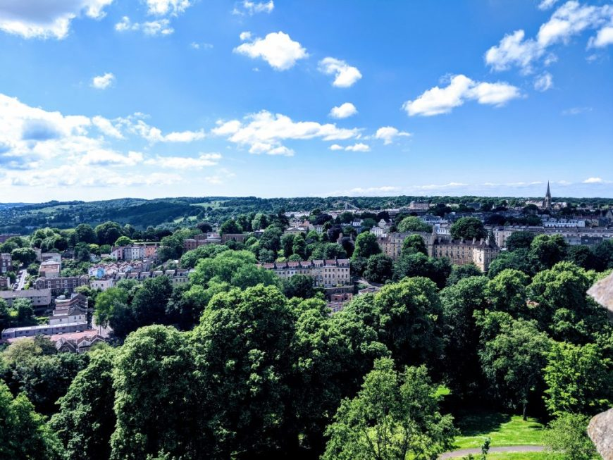 City views of Bristol and the surrounding countryside from the top of Cabot Tower