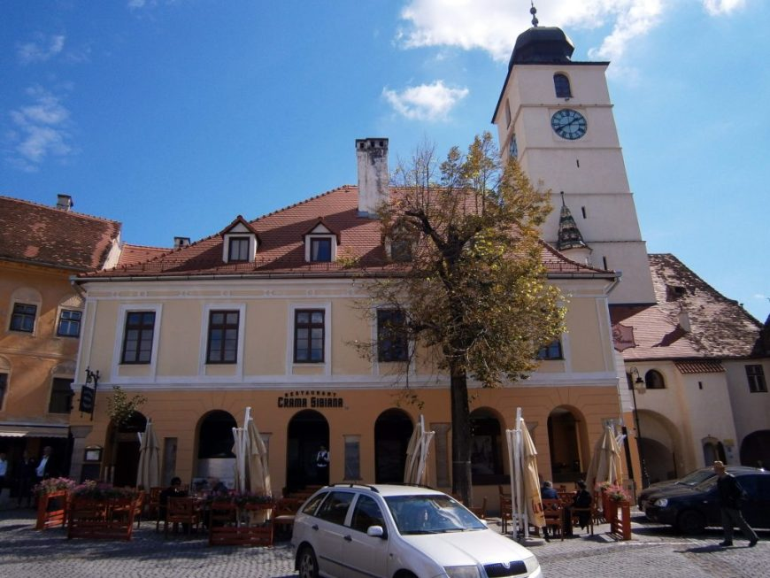 Colorful houses in Sibiu