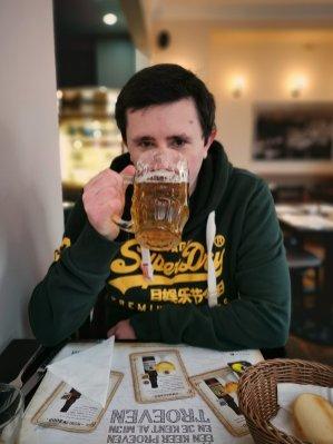 Scott drinking Belgian beer