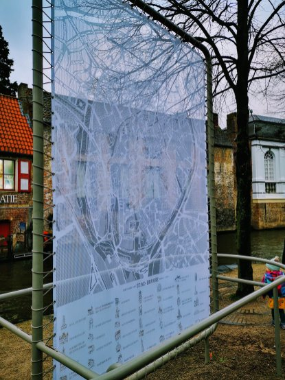 Map of Bruges made out of lace