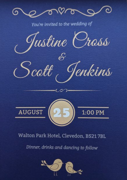 Justine and Scott's wedding invite
